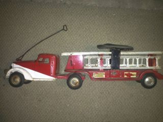 Buddy L Sit and Ride Fire Truck Extension Ladder Toy Truck Old