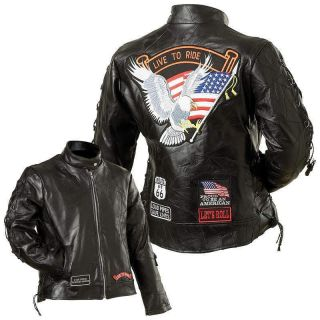 Ladies Live to Ride Eagle Genuine Buffalo Leather Motorcycle Riding