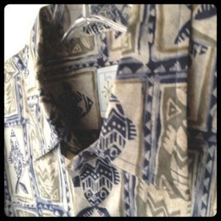 BURMA BIBAS Mens Casual Shirt Medium Fish Print Greens Blues EUC