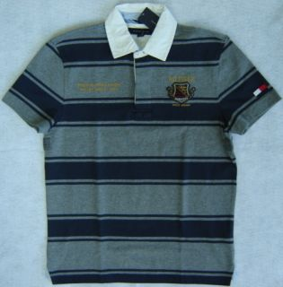 Mens Tommy Hilfiger s s Gray Navy Blue Stripe Rugby Polo Shirt Size S
