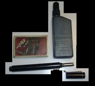Calligraphy pen pelikan graphos writing vintage lot set ink 8 tips