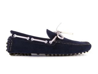 Car Shoe Mens Loafers Shoes in Dark Blue Suede Leather Size US 7 EU 40