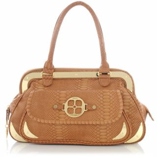 IMAN Global Chic Arm Candy Python Embossed Satchel with Metal Camel