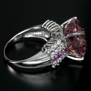 LUXUROUS TOP AAA PINK MORGANITE,SAPPHIRE,RUBY 925 SILVER RING