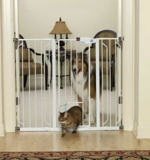 Carlson 0941PW Extra Tall Walk Thru Gate with Pet Door, White