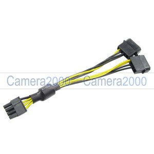 2X Molex IDE to 8 Pin PCIe VGA Card Power Cable Adapter