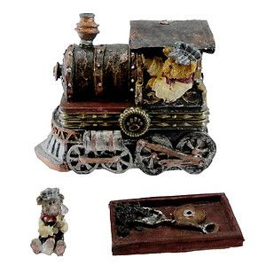 Boyds Bears Resin CASEYS STEAM ENGINE W/ TOOT 392169 RFB Treasure Box