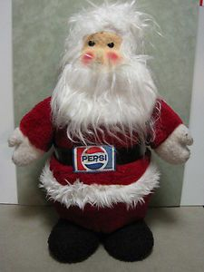 Vintage Plush ANIMAL FAIR PEPSI SANTA CLAUS DOLL TOY Advertising Promo