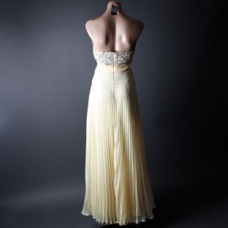 Empire Waist Champagne Rhinestone Formal Prom Gown Cocktail Maxi Dress