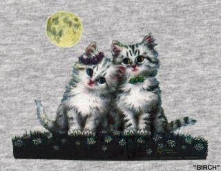 Denim Set Denim Shirt SS T Shirt Cats Full Moon Size s XL