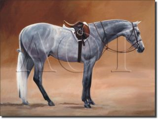 Crawford Horse Gray Accent Home Decor Ceramic Tile Art