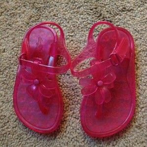 Baby Toddler Girls Gap Bright Pink Flower Thong T Strap Jelly Shoe