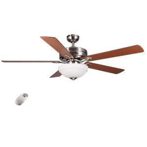 bay Cherokee Ceiling Fan brushed nickel frosted bowl light NOB remote