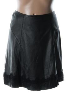 Elie Tahari New Celeste Black Leather Lace Trim Knee Length A Line