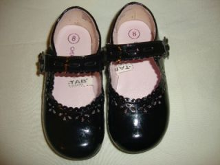 Toddler girls black patent cutout & flowered shoes Cherokee size 8