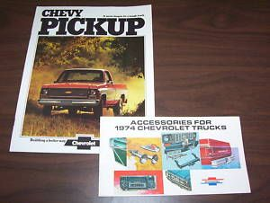 1974 CHEVROLET PICKUP TRUCK SALES BROCHURE ACCESSORIES CATALOG 2 for 1