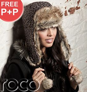 Ladies Brown Leopard Print Trapper Hat Girls Russian Winter Hat