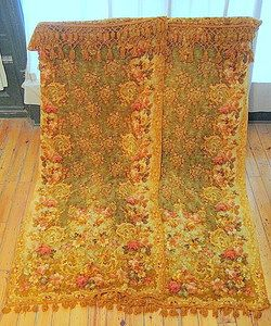 INCREDIBLE Antique FRENCH Floral Tapestry CHENILLE VELVET CURTAINS