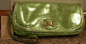 NWT Michael Kors Chestertown Leather Lime Clutch