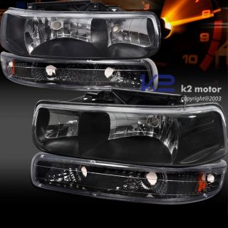 99 02 CHEVY SILVERADO CRYSTAL HEADLIGHTS+PARK BUMPER LAMP BLACK