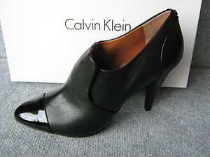 NEW Calvin Klein Chrissie Leather Ankle Boot Shoes Heel Pump Shootie