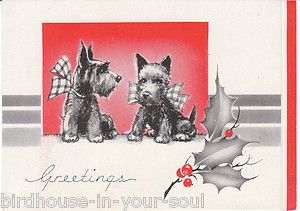Vintage Christmas Card Scottish Terrier Dogs Scottie Dogs Scotty Art