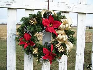 Artificial Christmas Wreath Silk Red Poinsettias Glittery Trim Gold