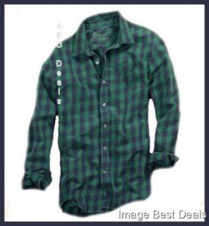 Mens Athletic Fit Green and Blue Plaid Shirt New