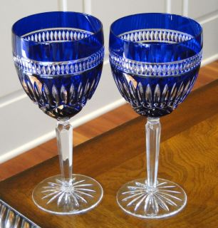 Waterford Serenity Clarendon Wine Goblets Glasses Pair Cobalt Blue