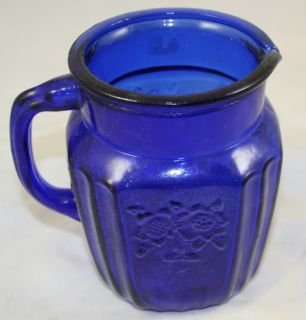Cobalt Blue Depression Glass Style Water Pitcher Floral Pattern