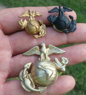 Lot of Three USMC Marine Corps EGAs Eagle Globe Anchors