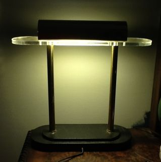 VINTAGE ART DECO METAL & BRASS BANKERS DESK LAMP In GREAT CONDITION