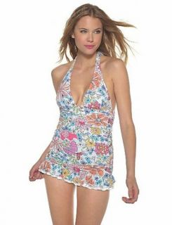 Coco Rave Floral Halter Swimsuit One Piece Swimdress 32C Cup Small New