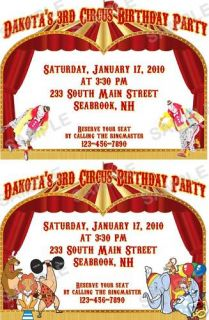Birthday Party Invitations Big Top Circus Tent Clowns