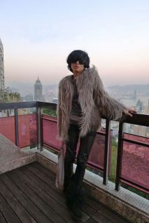 Trendy Grey Color Faux Fur Long Hair Winter Coat Jacket