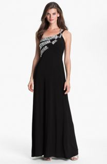 Hailey by Adrianna Papell One Shoulder Embellished Trim Jersey Gown