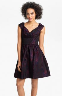 Suzi Chin for Maggy Boutique Cap Sleeve Brocade Fit & Flare Dress
