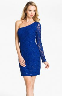 Hailey by Adrianna Papell One Shoulder Sequin Lace Sheath Dress