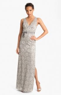 BCBGMAXAZRIA V Neck Metallic Lace Gown