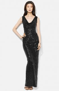 Lauren Ralph Lauren Cowl Neck Sequin Gown