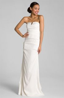 Nicole Miller Pintucked Jacquard Fishtail Gown
