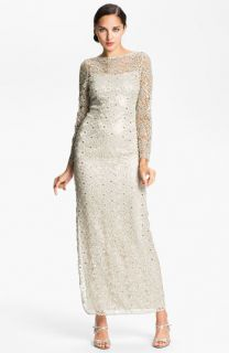Kay Unger Open Back Metallic Lace Gown