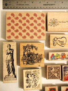 of 16 Assorted Rubber Stamps Wood Mounted Some Collectible Variety EUC