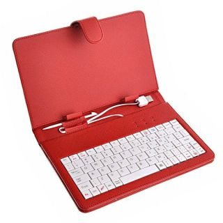 Pink Red Black White Leather Case + USB Keyboard for 7 Coby Kyros
