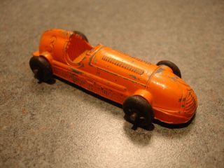 Antique Collectible Orange Diecast 3 Tootsietoy Race Car Toy
