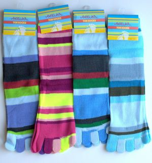 Lot 4 Pairs Rainbow Stripe 5 Toe Socks Stocking Costume