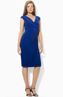 Lauren Ralph Lauren Gathered Surplice Jersey Sheath Dress (Petite)