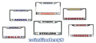 NFL Car Auto Chrome Metal License Plate Tag Frame Assorted Teams