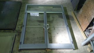 Aluminum Glass Commercial Double Door with Transom
