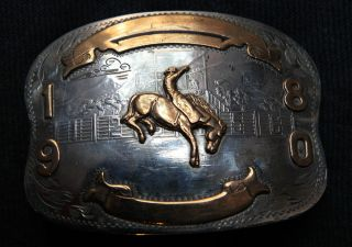 Vtg Comstock Cowboy Rodeo Horse German Silver Western Belt Buckle